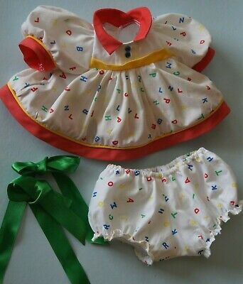 My Child Doll Original Abc Outfit - Dress - Panties - New Ribbons & Elastic
