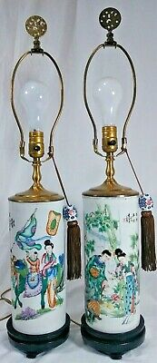 ** Vintage Pair of Chinese Hand Painted Porcelain Table Lamps **FREE SHIPPING!**