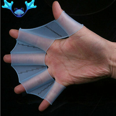 Hot Swim Gear Fins Hand Webbed Flippers Silicone Training Paddle Dive Glove FT