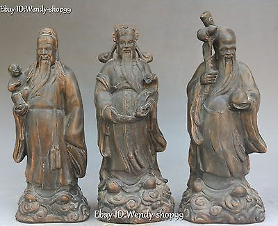 "12"" Collect China Old Wood Carved Fengshui 3 Longevity God Fu Lu Shou Statue Set"