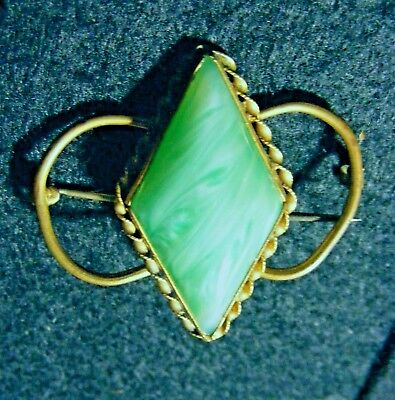 Vtg Antique Art Deco Green Art Glass Twisted Wire Brooch Pin c.1930-40's