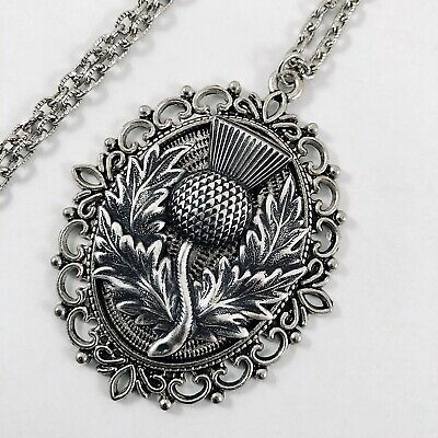 Scottish Celtic Medieval Insp.THISTLE Pendant Necklace - Sterling Silver Plated