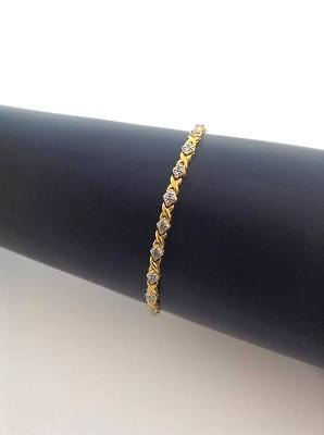 "Signed R 925 China Sterling Silver, Gold Plated Tennis Bracelet, 7.5"" Long"