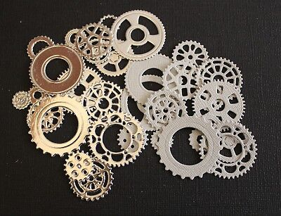 32 x Gears Cog Die Cuts Card Making Toppers Scrapbooking Embellishments