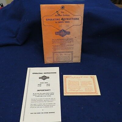 Vintage Briggs & Stratton Series Operating Instructions Models 60700 80700 ...