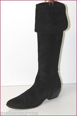 Venice Collection Boots Suede Black Velvet T 38.5 Very Good Condition