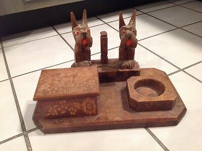 Vintage carved wood inkwell pen rest stand with Scottie terrier dogs folk art
