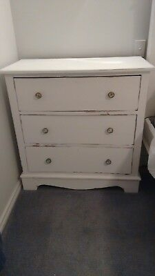 Antique Victorian cedar chest of 3 drawers, shabby white (paint can be removed)