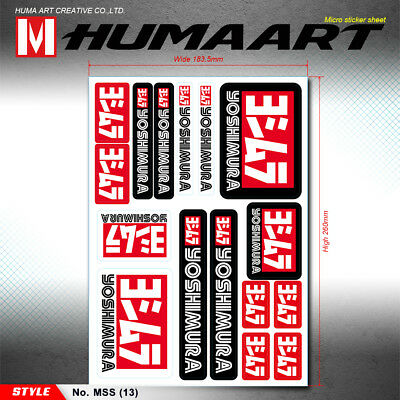 Vinyl Decals Stickers Sheet for Yoshimura Exhaust Dirt Bike Car Motorcycle Decor