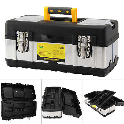 17 Inch Heavy Duty Stainless Steel Tool Box Chest Storage Case & Removable Tray