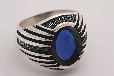 Turkish jewelry 925 Sterling Silver Solid sapphire stone Mens ring ALL SİZE 910