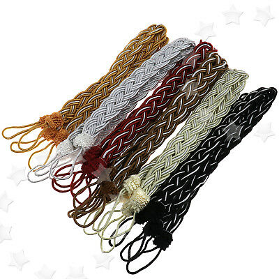 2 x Braided Satin Rope Curtain Tie Back Ropes Tieback Rope Tie Back Hold 6 Color
