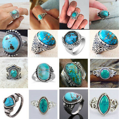 Open Turquoise Unique Vintage Spoon Ring Antique Silver Thumb Band Sizes 6-10