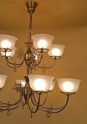 Pair HUGE Victorian style gas style chandeliers