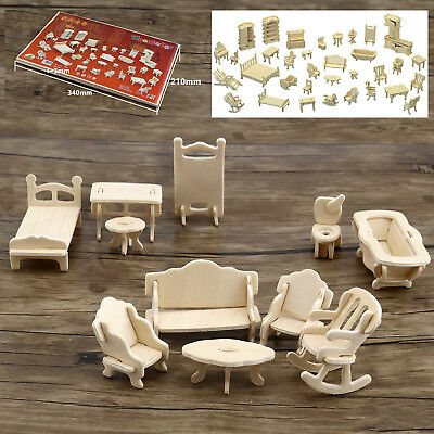 34x Intelligence Vintage Wooden Furniture Dolls House Miniature For Kid Toy Gift