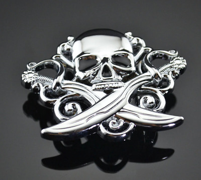 """♈ PIRATE SKULL SWORDS VAMPIRE ♈ Antique Silver Color  4/""""x 3/"""" Awesome Belt Buckle"""
