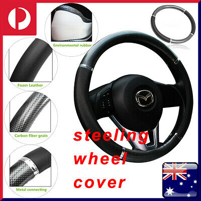 "15"" Luxury Auto Car Steering Wheel Cover Carbon Pattern w/ PU Leather Car Cover"