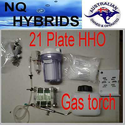 Hho Gas Torch.. Hydrogen 21 Plate  Generator  Powered Kit Diy Self Assemble Cell