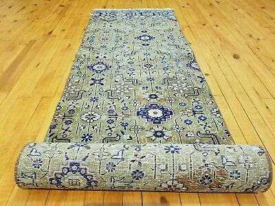 "Stunning 1930-1939's Antique Wool Pile 2'1""×9'7'' Natural Dye Bunyan Runner Rug"