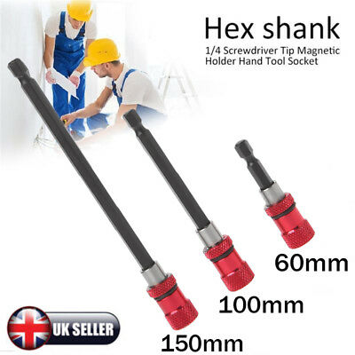 "3x 1/4"" Hex Shank Magnetic Screw Driver Extension Bit Quick Release Holder Tools"