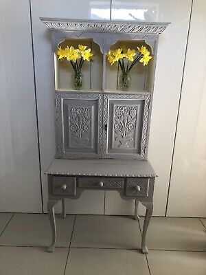 Beautiful Small Antique Vintage Victorian Carved Oak Dresser  Painted