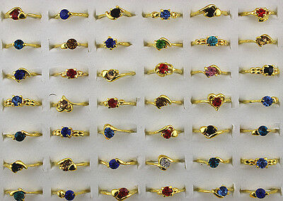 Mixed Color Job Lots 10pcs Crystal Rhinestone Gold Plated Colorful Lady's rings