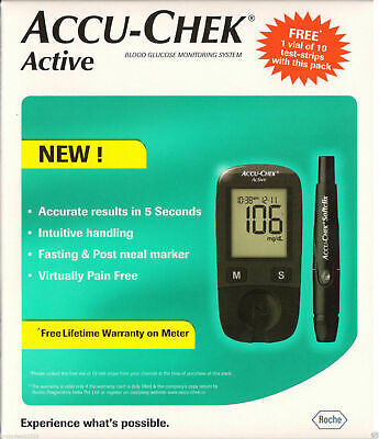 Accu-Chek Active Blood Glucose Gluco Meter - Monitoring + 10 Strips & 10 Lancets