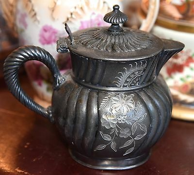 "Antique E.g.webster & Sons Quadruple Silverplate Cream Pitcher Aesthetic 4.75""H"
