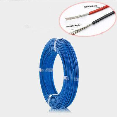 Blue 200°C HIGH TEMP PTFE Wire Cable Cord Tin Plated Copper UL1332 16~28AWG