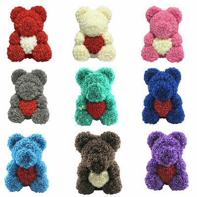 40CM Creative Style Bear Lovely Big Red Rose Flower Bear Kids Toys Lovers Gifts