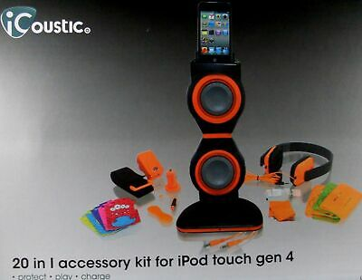 NEW iCoustic 20 in 1 Accessory Kit for iPod Touch Gen 4 Accessories Bundles