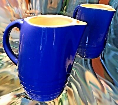 Vintage Blue Water Pitcher with Ice Lip