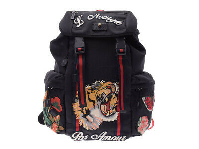 2b72e0abfcd Authentic Gucci embroidery backpack tiger black men s nylon A r  800000074524000