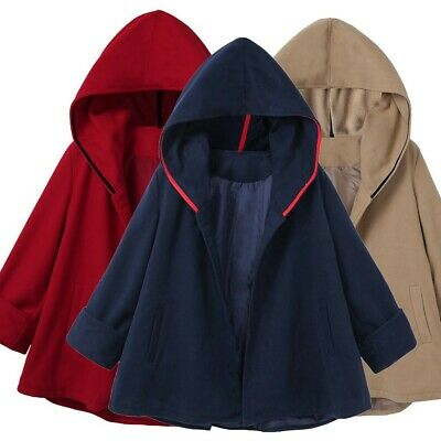 Women Causal Pockets Casual Hoodies Blouse Solid Coat Outwear Cloak Outcoat