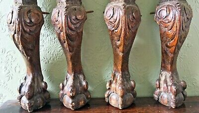 4x Antique Carved Oak Acanthus and Ball and Claw Foot Legs Architectural Salvage