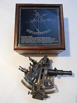 Antique Brass Sextant German Marine Sextant 4 Inch With Wooden Box