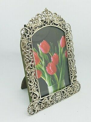 "Antique 1887 Victorian 4"" x 6"" Mythological Pierced Sterling Silver Photo Frame"