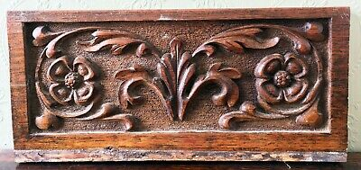 2x Antique Carved Oak Panels Leaves and Flowers Design Architectural Salvage