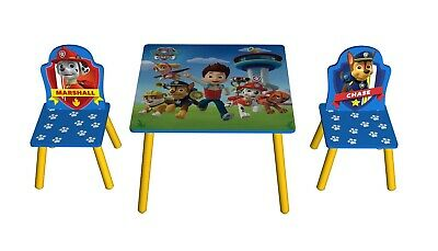 Paw Patrol Wooden Table And Chairs Childs Childrens Kids Playroom Furniture Set