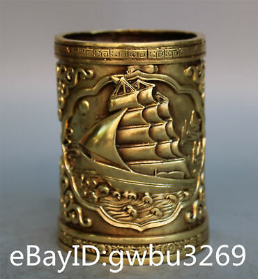 Asian Chinese Brass Pen Holder  Handwork Carved Boat Brush Pots w XuanDe Marks