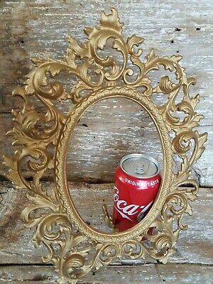 Antique VTG Cast Iron Oval Picture Frame Ornate Easel Back Standing Gold Wilton