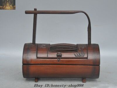 "7""Rare Old Chinese Ancient Bamboo Hand Carved Portable Insects cricket Box Boxes"