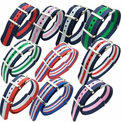 Fashion NATO Nylon Military Striped Replacement Wrist Watch Strap Bands 18/20mm