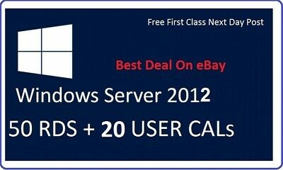 Microsoft Windows Server 2012 R2 Standard RDS Option 50 CALs + 20 USER CALs Card