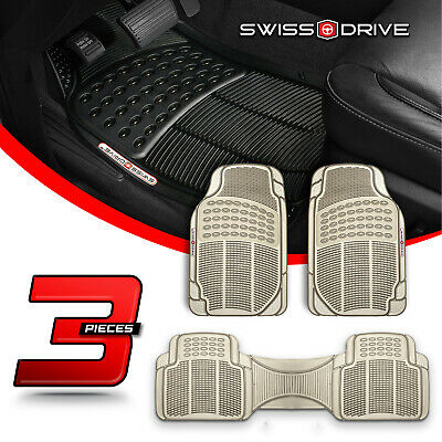 Premium Heavy-Duty 3 Piece Rubber SMOKE Car Floor Mats All Extreme Weather PVC