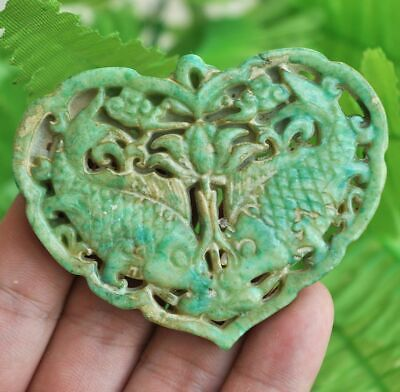 Chinese ancient old hard jade hand-carved pendant necklace ~fish