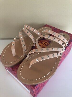 888c5b25904 Tory Burch Patos Studded Sandal Natural Calf Leather Size 10 BRAND NEW  Authentic