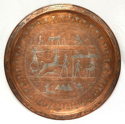 Antique Cairoware Charger | Copper w/Silver Inlay, Early 1900's Egyptian Revival