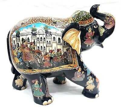 """Procession Painting on Elephant Statue - Wooden Sculpture-Handmade Figurine 8.5"""""""