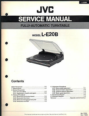 Service Manual JVC L-E20B turntable record player Repair book schematic